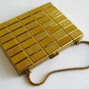 Vintage Gold Metal Pi Sigma Phi 60s Powder Compact